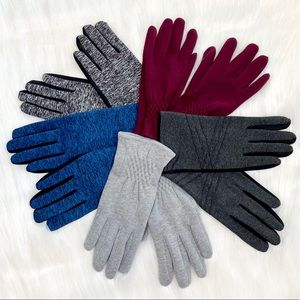 Womens Gloves Fleece Lined Stretch Gloves Gray